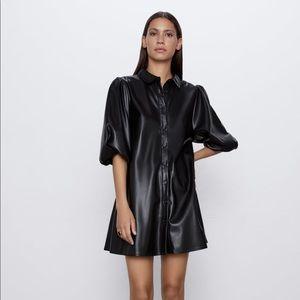 Zara black leather dress